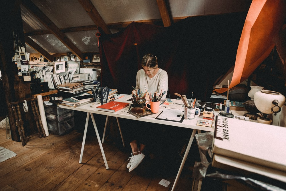 A woman working in her studio